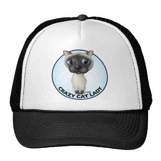 Gato siamés - señora loca del gato gorro de camionero