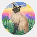 Gato siamés - Twilght Pegatinas Redondas