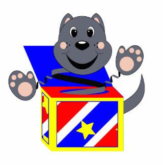 Gato Smokey de Skrunchkin en caja colorida Escultura Fotografica