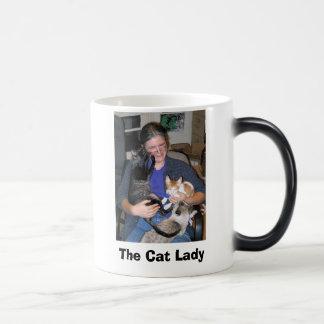 gato - smokey y vidrios, la señora del gato taza de café