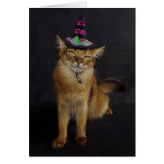 Gato somalí de Witchy Halloween Tarjeta De Felicitación
