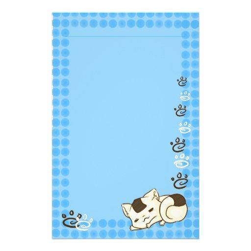 Gato soñoliento de Onigiri inmóvil (azul) Papelería