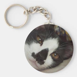Gato soñoliento del smoking llavero redondo tipo pin