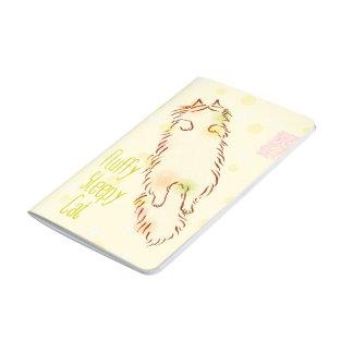 Gato soñoliento mullido cuadernos grapados