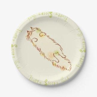 Gato soñoliento mullido platos de papel