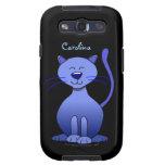 Gato sonriente azul feliz lindo Samsung conocido d Galaxy S3 Funda