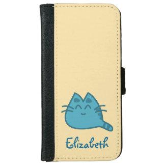 Gato sonriente azul personalizado del gatito funda cartera para iPhone 6