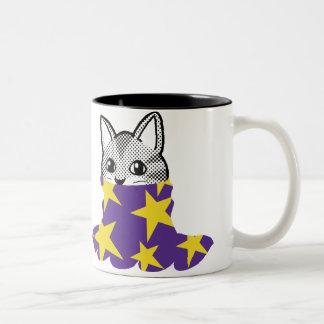 Gato sonriente: Estrella del cuello alto Taza De Dos Tonos