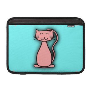 Gato sonriente rosado del dibujo animado en la tur fundas MacBook