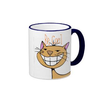 Gato sonriente taza de dos colores