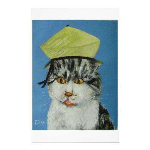 gato sorprendido papelería de diseño