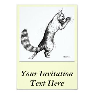 """Gato Springing2 Invitación 5"""" X 7"""""""