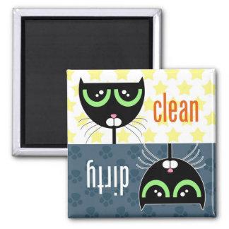 Gato sucio/limpio - imán