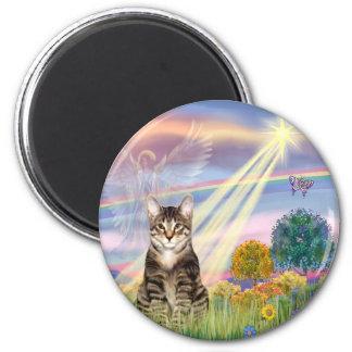 Gato (Tabby) - ángel de la nube Imán Redondo 5 Cm