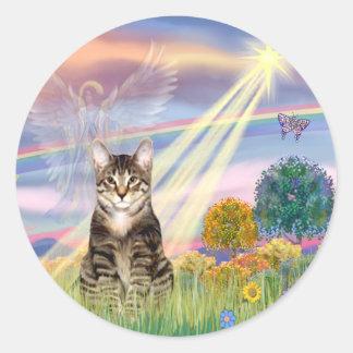 Gato (Tabby) - ángel de la nube Pegatina Redonda