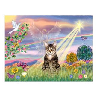 Gato (Tabby) - ángel de la nube Tarjeta Postal