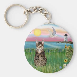 Gato (tabby) - faro llavero redondo tipo pin