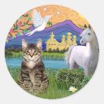 Gato - (Tabby) - tierra de la fantasía Pegatinas Redondas