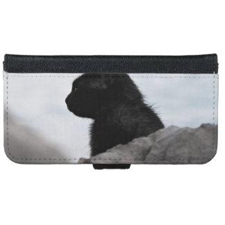 Gato temático, negro negro con la cabeza dada funda cartera para iPhone 6