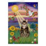 Gato (tigre) - otoño Sun Felicitación