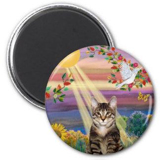 Gato (tigre) - otoño Sun Imán Redondo 5 Cm