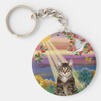 Gato (tigre) - otoño Sun Llavero Redondo Tipo Pin
