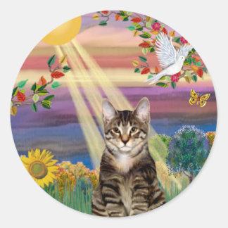Gato (tigre) - otoño Sun Pegatina Redonda