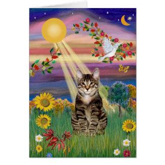 Gato (tigre) - otoño Sun Tarjeta De Felicitación