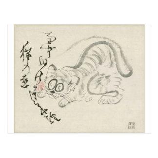 Gato (tigre?) y poema por Sengai Tarjetas Postales