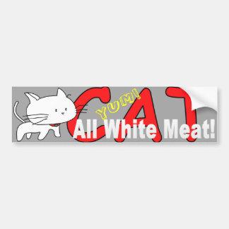 Gato toda la carne blanca - Yum pegatina para el p Etiqueta De Parachoque