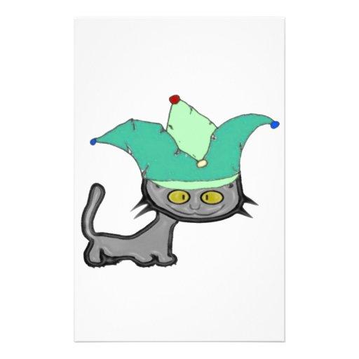Gato tonto del bufón papelería personalizada