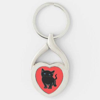 Gato torcido del llavero del metal del corazón por llaveros