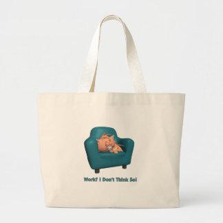 Gato: ¿Trabajo? No pienso tan Bolsa Tela Grande