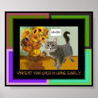 Gato travieso 3 de Van Gogh Póster