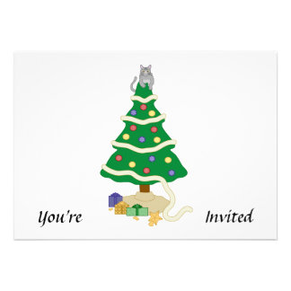 Gato travieso del gatito del árbol de navidad comunicados personalizados