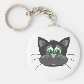 Gato triste negro llavero redondo tipo pin