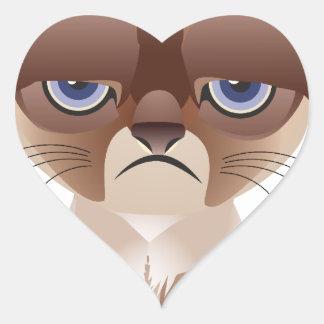 Gato triste calcomanías corazones
