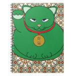 Gato verde afortunado libro de apuntes con espiral