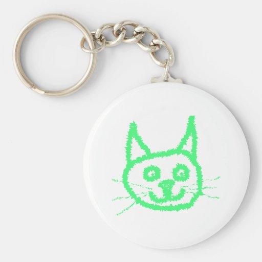 Gato verde claro llavero