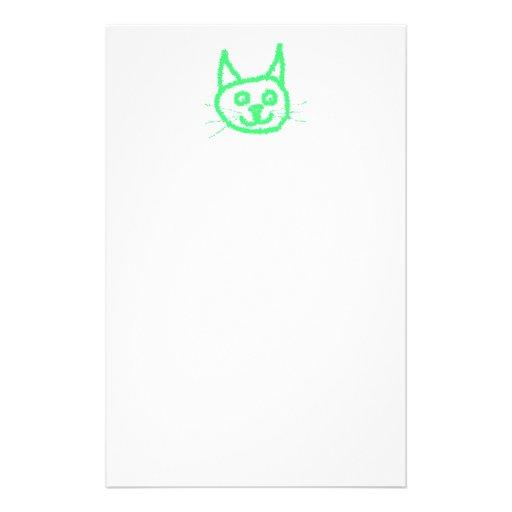 Gato verde claro papeleria personalizada
