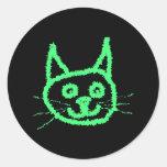 Gato verde claro pegatinas redondas