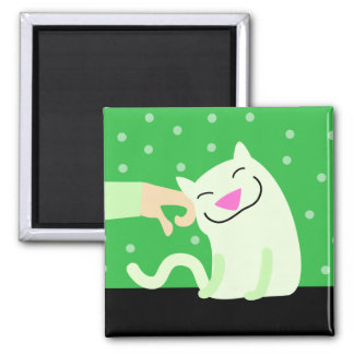 Gato verde con acariciar la mano imán cuadrado
