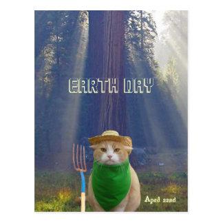 Gato verde gótico americano del Día de la Tierra d Tarjeta Postal