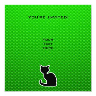 Gato verde invitación 13,3 cm x 13,3cm