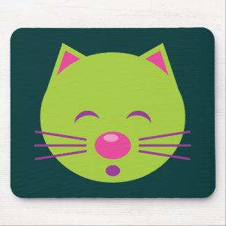 Gato verde soñoliento mouse pad