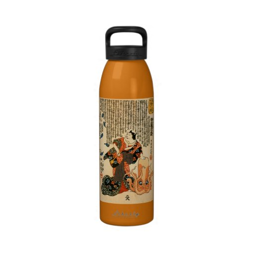 Gato vestido como mujer con bella arte del pulpo botellas de agua reutilizables