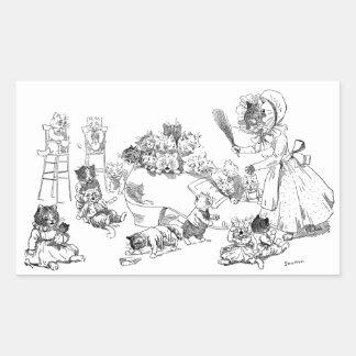Gato viejo de Louis Wain en poesía infantil del Pegatina Rectangular