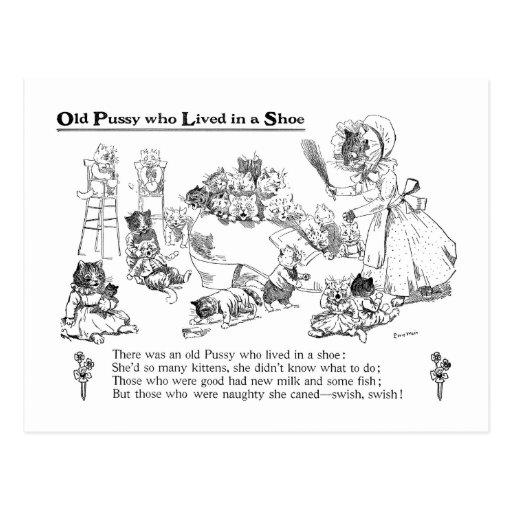 Gato viejo de Louis Wain en poesía infantil del Postales