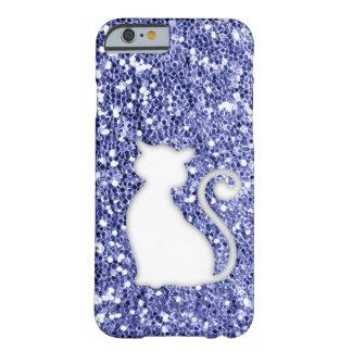 Gato violeta de la mirada del brillo funda para iPhone 6 barely there