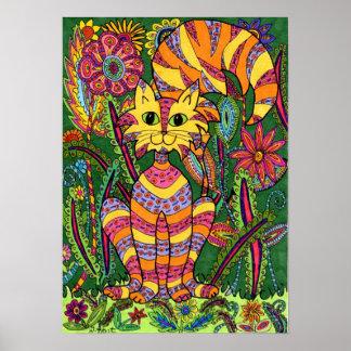 Gato vivo 2 del jardín póster